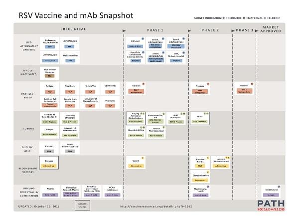 Figuur 3. Overzicht van de ontwikkelingen in vaccins en immunoglobulinen tegen respiratoir syncytieel virus