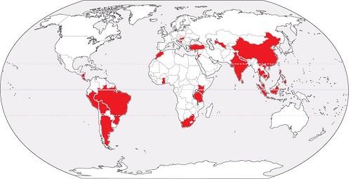 Wereldkaart met R1-landen waar mogelijke blootstelling plaatsvond in 2016