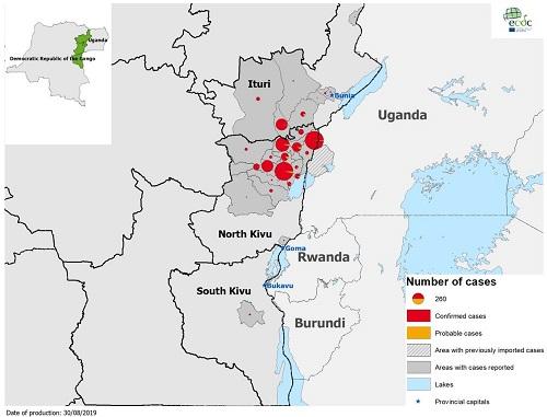figuur 3 patienten met ebola in DRC en Uganda week 31-35 2019