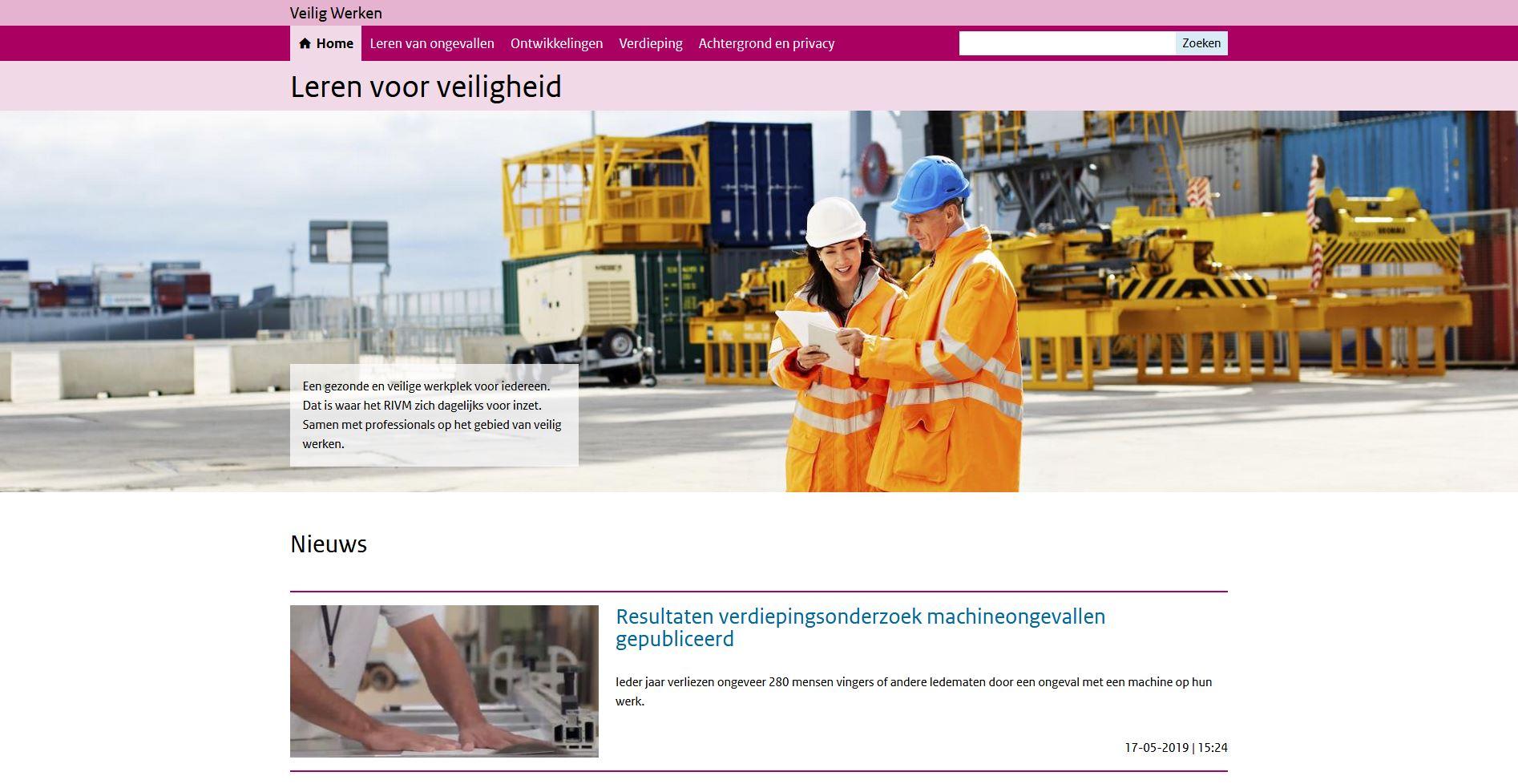 homepage website lerenvoorveiligheid.nl