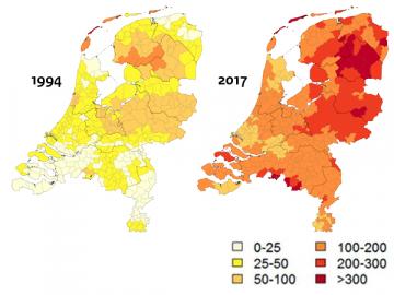 Figuur 1. Aantal mensen per 100.000 inwoners in Drenthe met de ziekte van Lyme