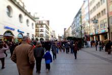 people walking on shopping street
